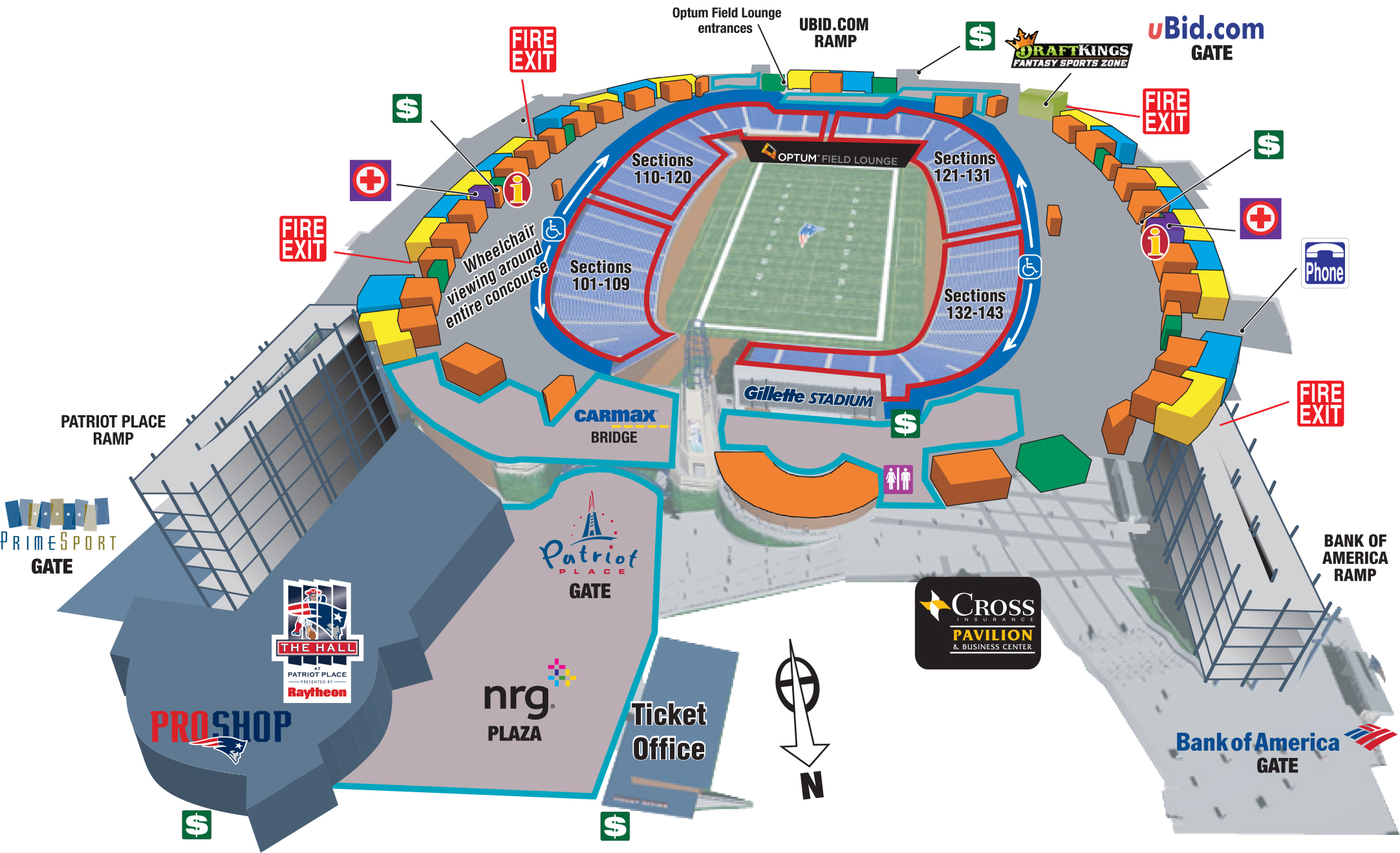 Seating charts maps gillette stadium