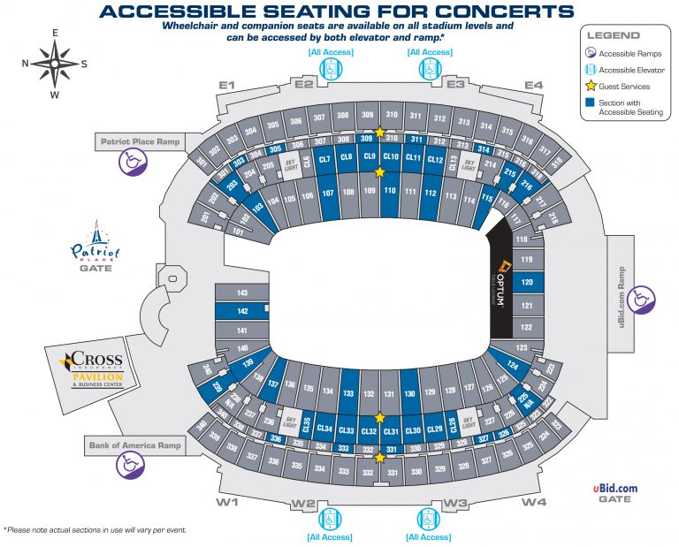 ADA Accessible Seating (Events) - Gillette Stadium on university of phoenix stadium seating map, bank of america stadium seating map, royal farms arena seating map, wilson stadium seating map, peoria stadium seating map, doak campbell stadium seating map, falcon stadium seating map, jacksonville veterans memorial arena seating map, sanford stadium seating map, toyota stadium seating map, boone pickens stadium seating map, gillette seating chart with seat numbers, fau stadium seating map, levi's stadium seating map, m&t bank stadium seating map, union stadium seating map, veterans stadium seating map, paul brown stadium seating map, chicago stadium seating map, sun life stadium seating map,