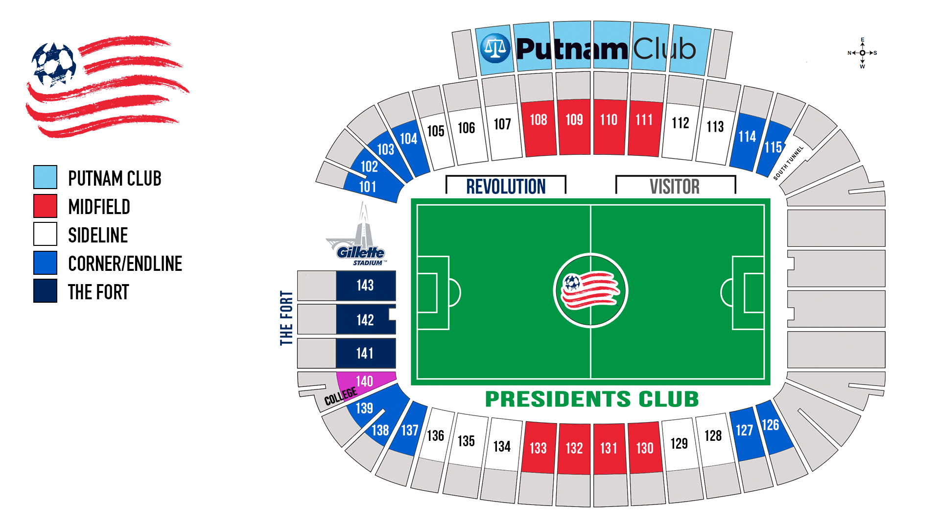 Revolution Seating Chart Gillette Stadium