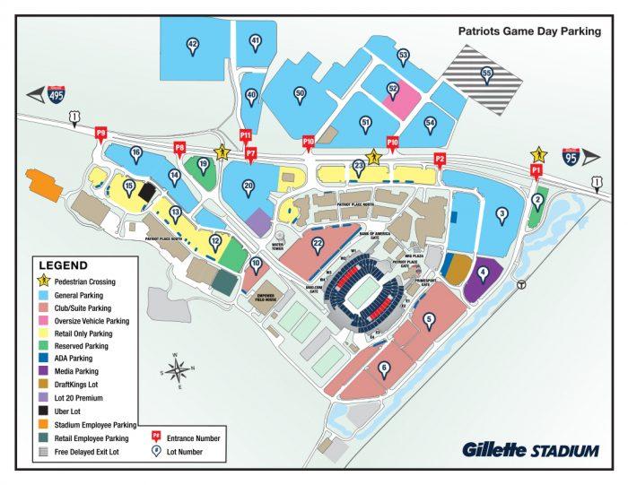 Patriots Place Map Patriots Parking Map   Gillette Stadium Patriots Place Map