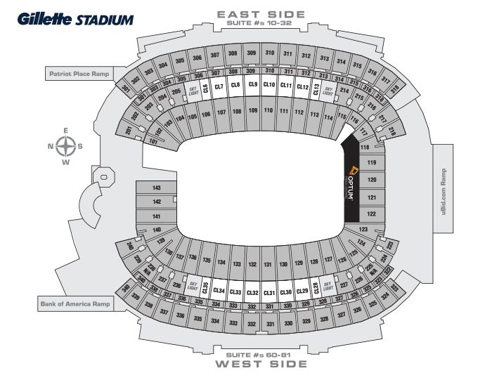 Gillette Stadium General Seating Chart Seatings Charts Will Vary For Concerts And Other Events As A Best Practice We Recommend That You Always Review The