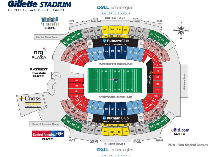 Gillette Stadium Seating Map New England Patriots Virtual Seating Chart   Fedexfield landover