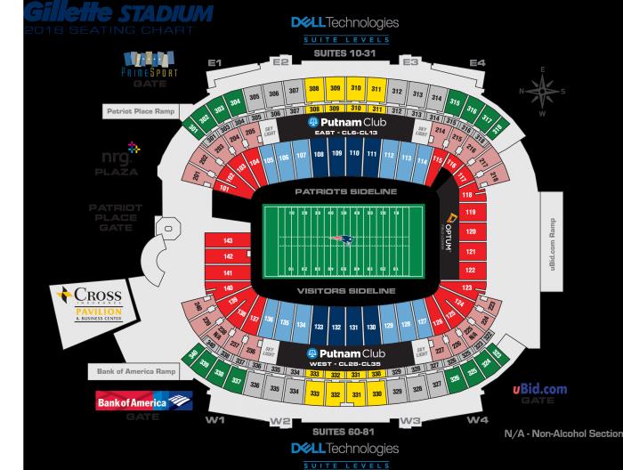 Patriots seating chart gillette stadium