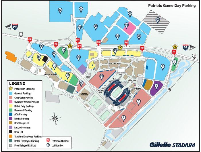 Patriots Parking Map - Gillette Stadium