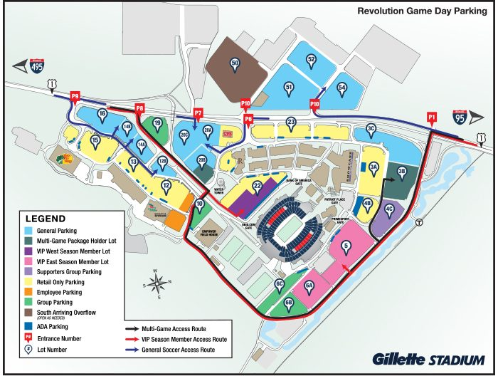 Gillette Stadium Map Revolution Parking Map   Gillette Stadium