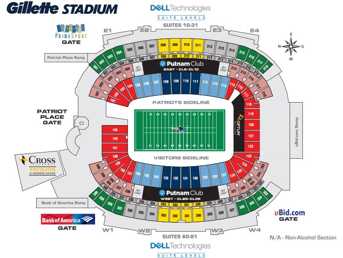 graphic about New England Patriots Printable Schedule identified as Patriots Seating Chart - Gillette Stadium