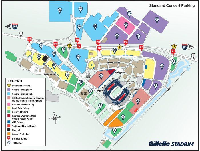 Concert Parking Map - Gillette Stadium
