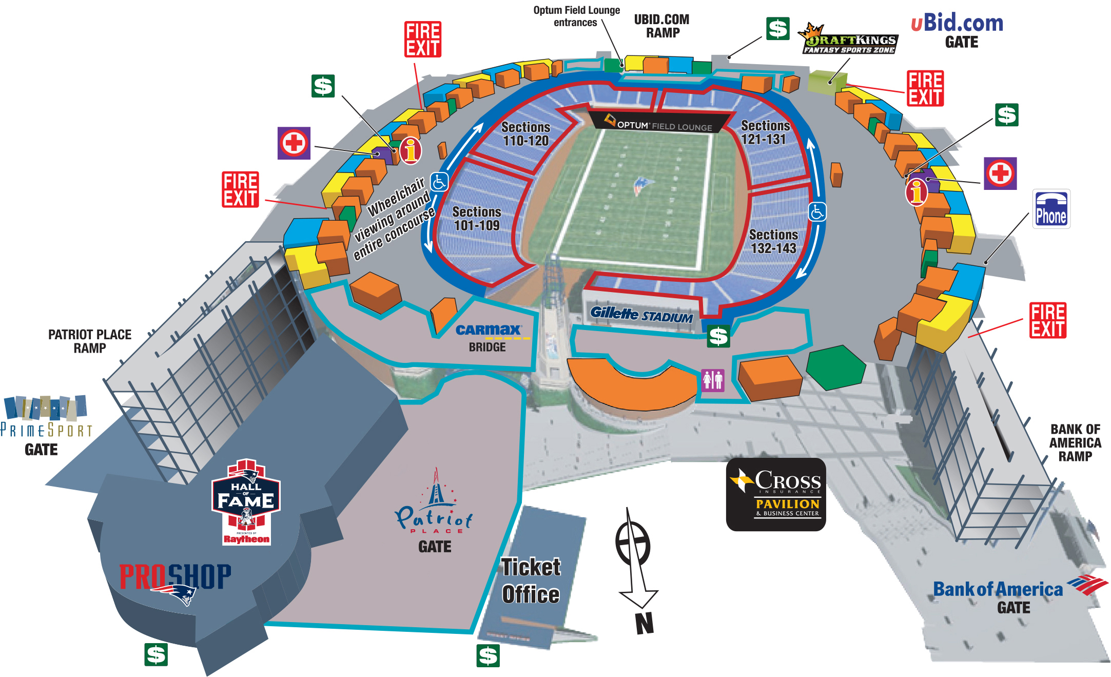 Seating Charts Amp Maps Gillette Stadium